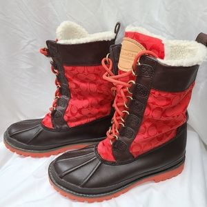 COACH Signature Weather Winter Boots